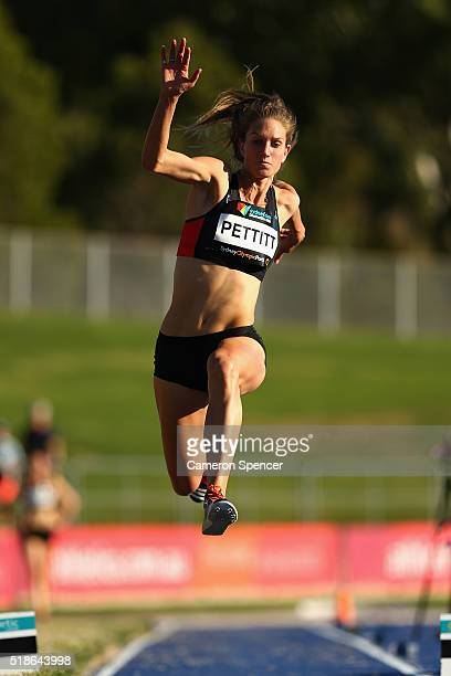 Ellen Pettitt of Victoria comepetes in the women's triple jump open during the Australian Athletics Championships at Sydney Olympic Park on April 2...