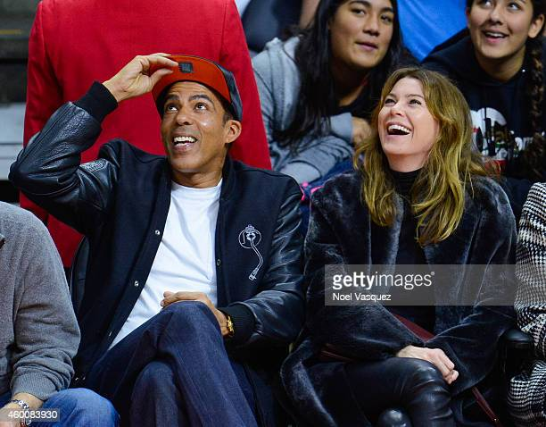 Ellen Pompeo and Chris Ivery attend a basketball game between the New Orleans Pelicans and the Los Angeles Clippers at Staples Center on December 6...