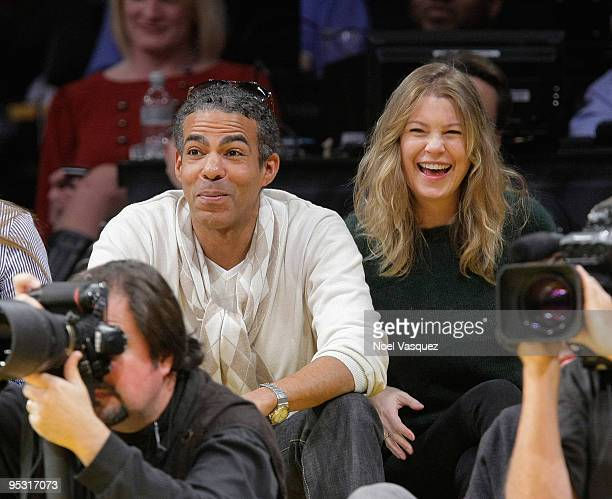 Ellen Pompeo and Chris Ivery attend a game between the Cleveland Cavaliers and the Los Angeles Lakers at Staples Center on December 25 2009 in Los...