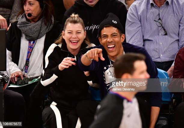 Ellen Pompeo and Chris Ivery attend the New Orleans Pelicans vs New York Knicks game at Madison Square Garden on November 23, 2018 in New York City.