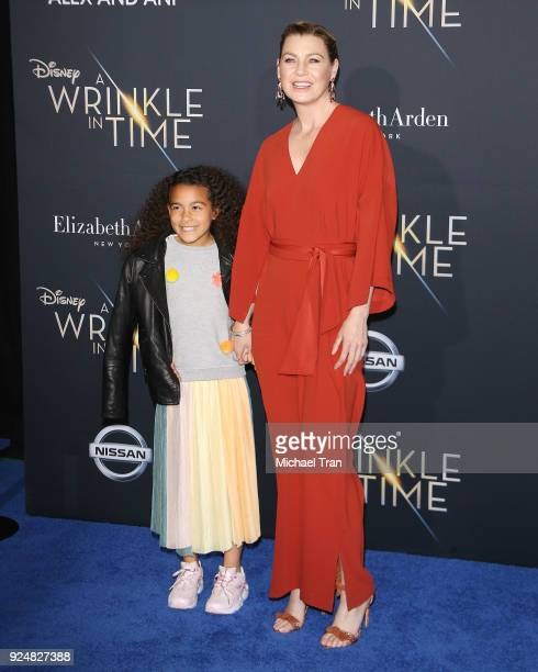 Ellen Pompeo and daughter arrive at the Los Angeles premiere of Disney's 'A Wrinkle In Time' held at El Capitan Theatre on February 26 2018 in Los...