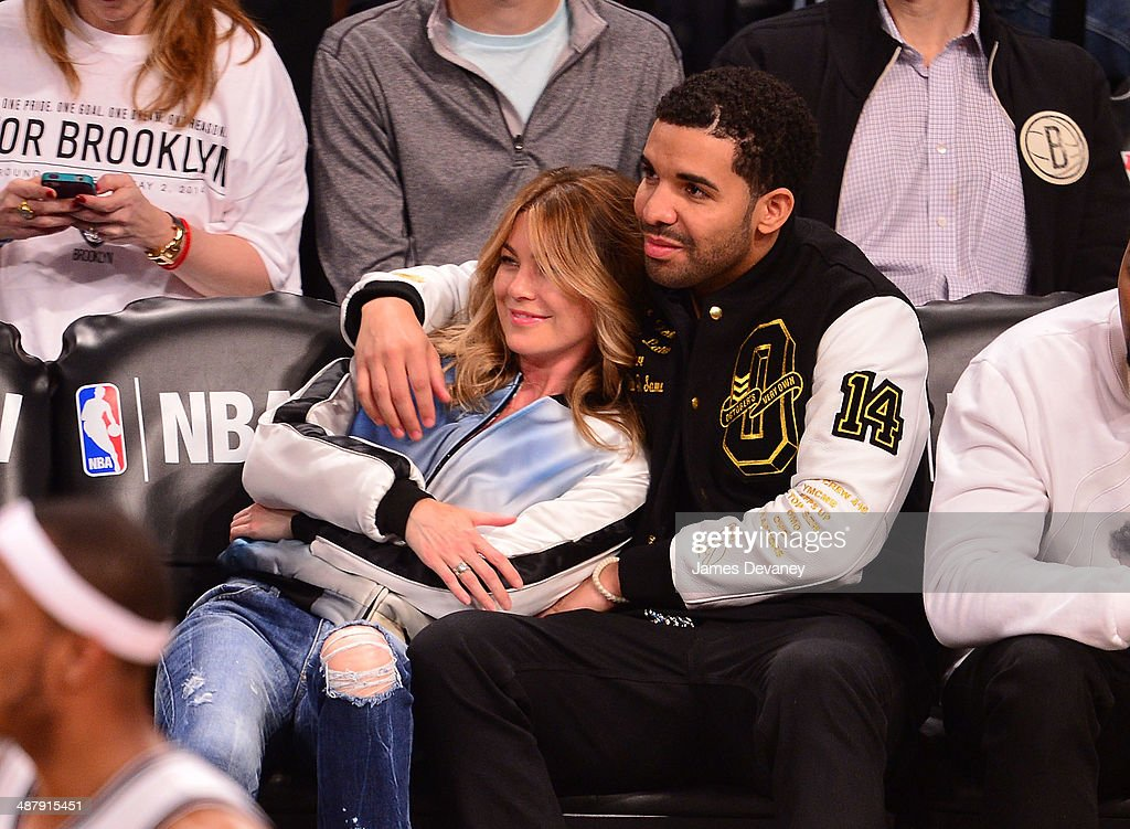 Ellen Pompeo and Drake attend the Toronto Raptors vs Brooklyn Nets game at Barclays Center on May 2, 2014 in the Brooklyn borough of New York City.
