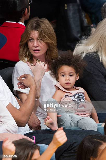 Ellen Pompeo and her daughter Stella Luna Ivery attend a basketball game between the Chicago Bulls and Los Angeles Lakers at Staples Center on March...