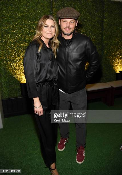 Ellen Pompeo and Justin Chambers attend the Sergio Tacchini STLA Launch on February 21 2019 in Los Angeles California