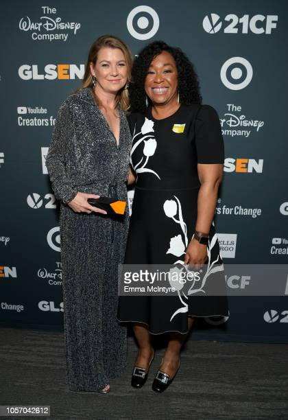 Ellen Pompeo and Shonda Rhimes attend the GLSEN Respect Awards at the Beverly Wilshire Four Seasons Hotel on October 19, 2018 in Beverly Hills,...