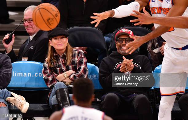 Ellen Pompeo and Spike Lee attend the Brooklyn Nets v New York Knicks game at Madison Square Garden on November 24 2019 in New York City
