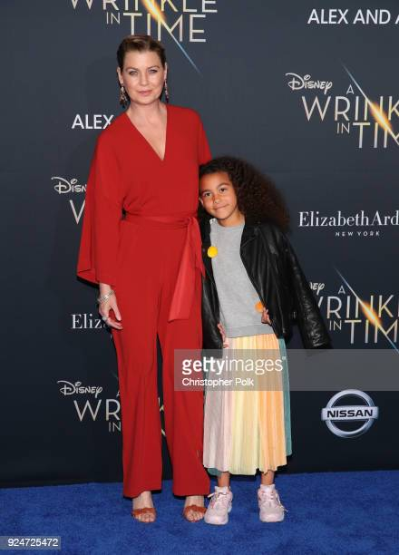 """Ellen Pompeo and Stella Ivery attend the premiere of Disney's """"A Wrinkle In Time"""" at the El Capitan Theatre on February 26, 2018 in Los Angeles,..."""