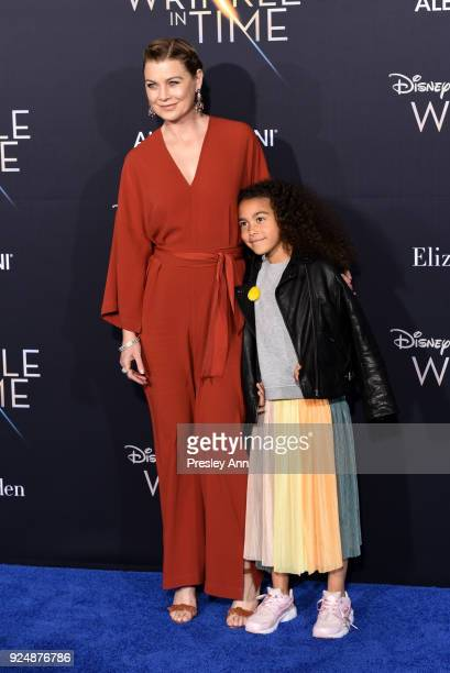 Ellen Pompeo and Stella Ivery attends Premiere Of Disney's A Wrinkle In Time Arrivals on February 26 2018 in Los Angeles California