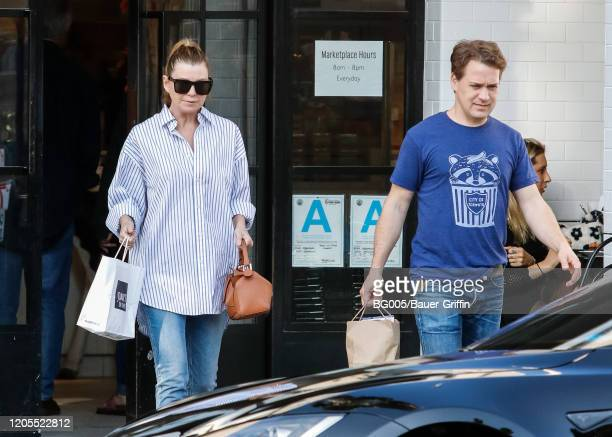 Ellen Pompeo and T R Knight are seen on March 06 2020 in Los Angeles California