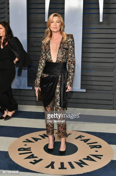 Ellen Pompeo attends the 2018 Vanity Fair Oscar Party hosted by Radhika Jones at Wallis Annenberg Center for the Performing Arts on March 4 2018 in...