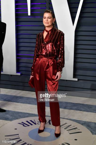 Ellen Pompeo attends the 2019 Vanity Fair Oscar Party hosted by Radhika Jones at Wallis Annenberg Center for the Performing Arts on February 24, 2019...