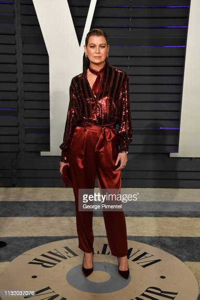Ellen Pompeo attends the 2019 Vanity Fair Oscar Party hosted by Radhika Jones at Wallis Annenberg Center for the Performing Arts on February 24 2019...