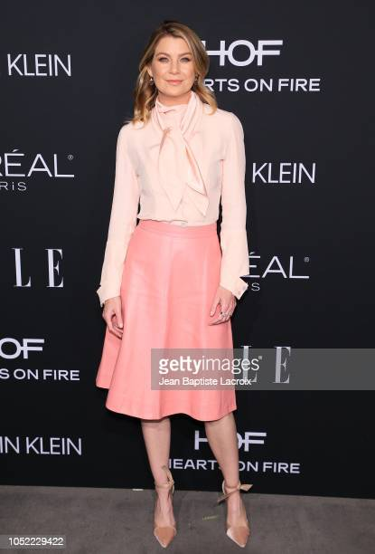 Ellen Pompeo attends the 25th Annual ELLE Women in Hollywood Celebration at Four Seasons Hotel Los Angeles at Beverly Hills on October 15 2018 in Los...