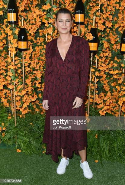 Ellen Pompeo attends the 9th Annual Veuve Clicquot Polo Classic Los Angeles at Will Rogers State Historic Park on October 6 2018 in Pacific Palisades...