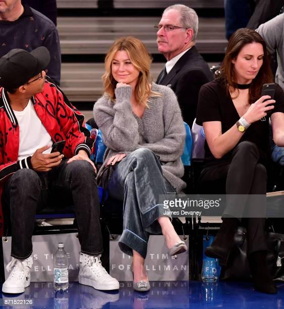 Ellen Pompeo attends the Charlotte Hornets Vs New York Knicks game at Madison Square Garden on November 7 2017 in New York City