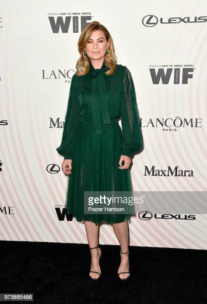 Ellen Pompeo attends the Women In Film 2018 Crystal Lucy Awards presented by Max Mara Lancôme and Lexus at The Beverly Hilton Hotel on June 13 2018...