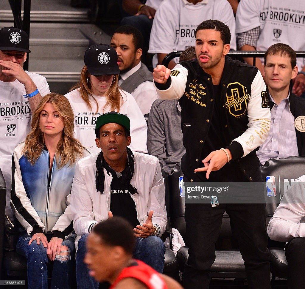 Ellen Pompeo Chris Ivery And Drake Attend The Toronto Raptors Vs News Photo Getty Images