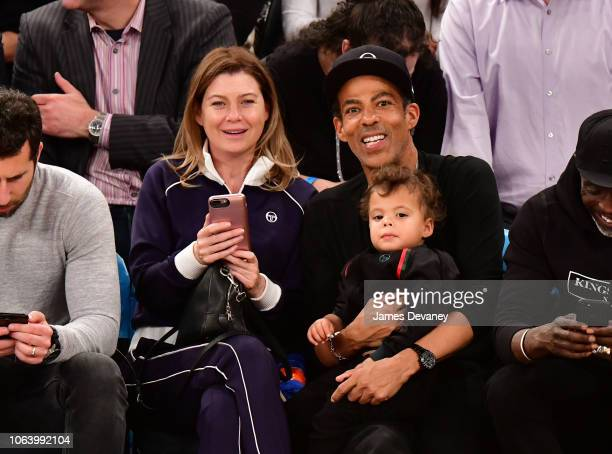 Ellen Pompeo Eli Ivery and Chris Ivery attend the Portland Trail Blazers vs New York Knicks game at Madison Square Garden on November 20 2018 in New...