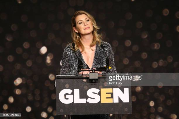Ellen Pompeo speaks onstage at the GLSEN Respect Awards at the Beverly Wilshire Four Seasons Hotel on October 19 2018 in Beverly Hills California
