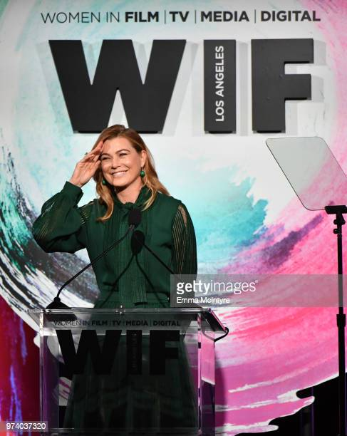 Ellen Pompeo speaks onstage during the Women In Film 2018 Crystal Lucy Awards presented by Max MaraLancôme and Lexus at The Beverly Hilton Hotel on...