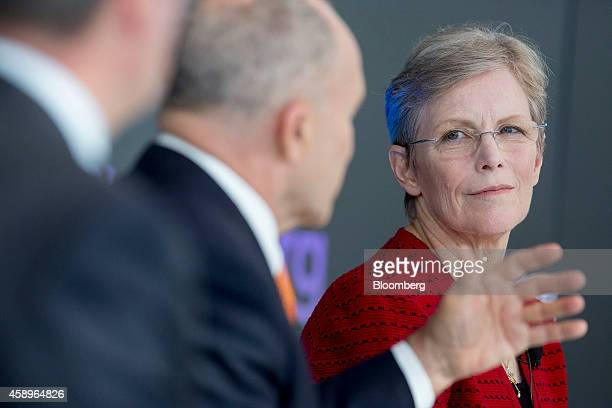 Ellen Richey chief legal officer at Visa Inc right listens as Ray Kelly president of risk management services at Cushman Wakefield Inc and former New...