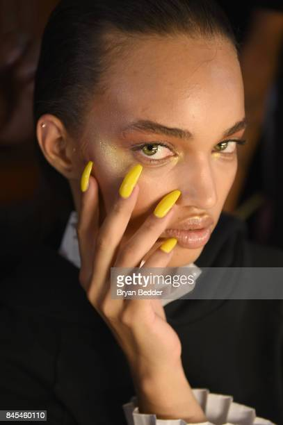 Ellen Rosa poses backstage at the FENTY PUMA by Rihanna Spring/Summer 2018 Collection at Park Avenue Armory on September 10, 2017 in New York City.