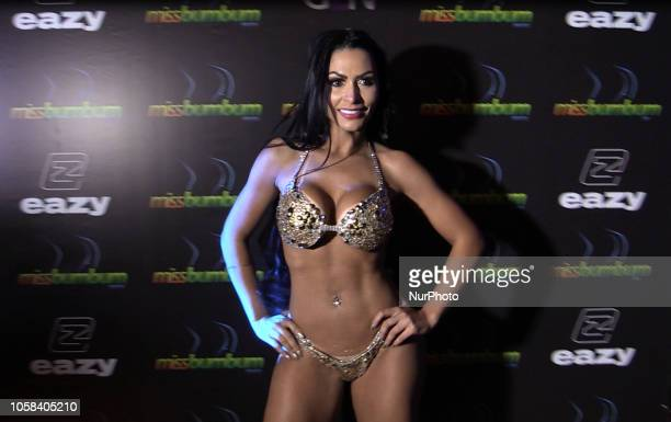 Ellen Santana from Rondonia state walks the runway after winning the Miss Bumbum Brazil 2018 pageant in Sao Paulo Brazil on November 5 2016 Fifteen...