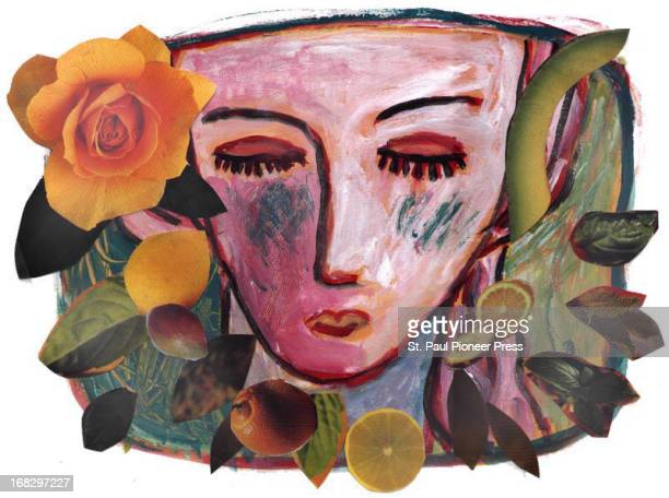 Ellen Simonson color illustration of beautiful woman's face surrounded by flowers fruits vegetables Can be used with stories about face lotions