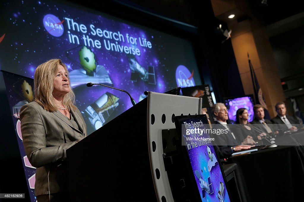 Ellen Stofan, chief scientist at NASA, speaks at a press conference discussing 'the scientific and technological roadmap that will lead to the discovery of potentially habitable worlds among the stars' July 14, 2014 at NASA headquarters in Washington, DC. Most prominent among the methods NASA will search the universe for habitable exoplanets will be the deployment of the James Webb Space Telescope, with a mirror of 21 feet, scheduled to be launched in 2018.