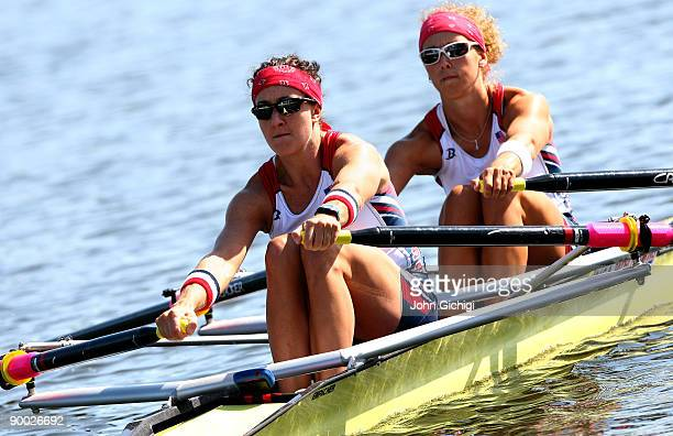 Ellen Tomek and Megan Kalmoe of USA compete in the Women's Double Skulls during day one of The World Rowing Championships on August 23, 2009 in...