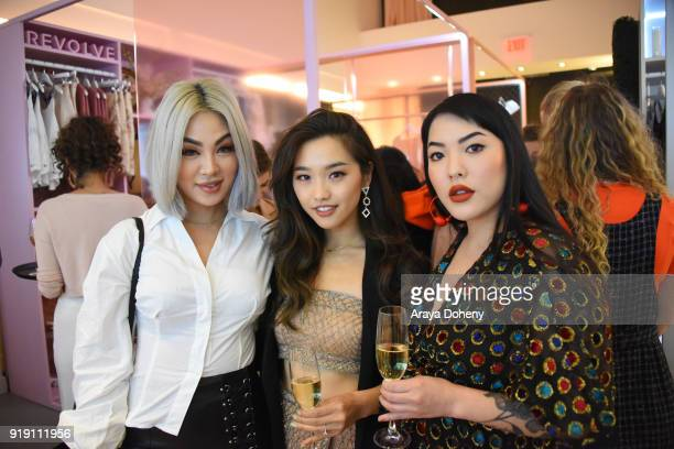 Ellen V Lora Jenn Im and Stephanie Villa attend the Flaunt Magazine Dinner with Nike and Revolve on February 15 2018 in Los Angeles California