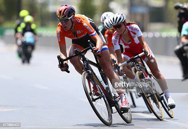 Ellen Van Dijk of Netherlands tracked by Alena Amialiusik of Belarus in the Women's Road Race during day eight of the Baku 2015 European Games at...