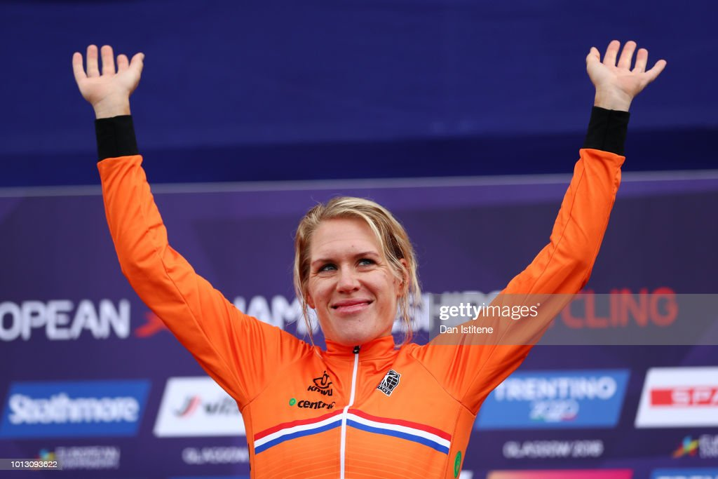 Ellen Van Dijk of the Netherlands celebrates at the podium after winning the Women's Road Cycling on Day Seven of the European Championships Glasgow 2018 at Glasgow Cycling TT Course on August 8, 2018 in Glasgow, Scotland. This event forms part of the first multi-sport European Championships.