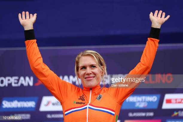 Ellen Van Dijk of the Netherlands celebrates at the podium after winning the Women's Road Cycling on Day Seven of the European Championships Glasgow...