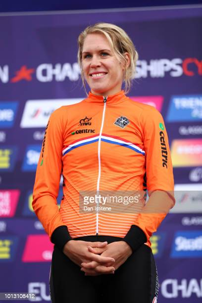 Ellen Van Dijk of the Netherlands looks on at the podium after winning the Women's Road Cycling on Day Seven of the European Championships Glasgow...