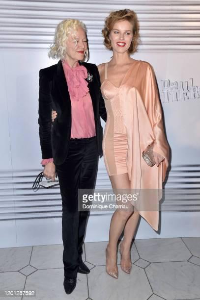 Ellen von Unwerth and Eva Herzigova attend the Jean-Paul Gaultier Haute Couture Spring/Summer 2020 show as part of Paris Fashion Week at Theatre Du...
