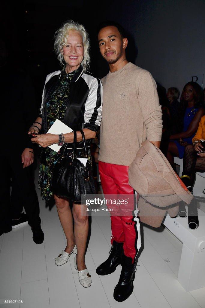 Ellen von Unwerth and Lewis Hamilton attend the Versace show during Milan Fashion Week Spring/Summer 2018 on September 22, 2017 in Milan, Italy.