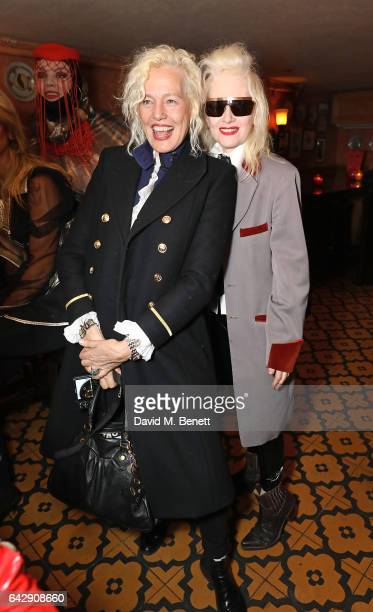 Ellen von Unwerth and Pam Hogg attend the Pam Hogg aftershow party during the London Fashion Week February 2017 collections at Bunga Bunga on...