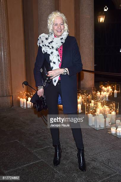 Ellen von Unwerth attends Vogue Cocktail Party honoring photographer Mario Testino on February 27 2016 in Milan Italy