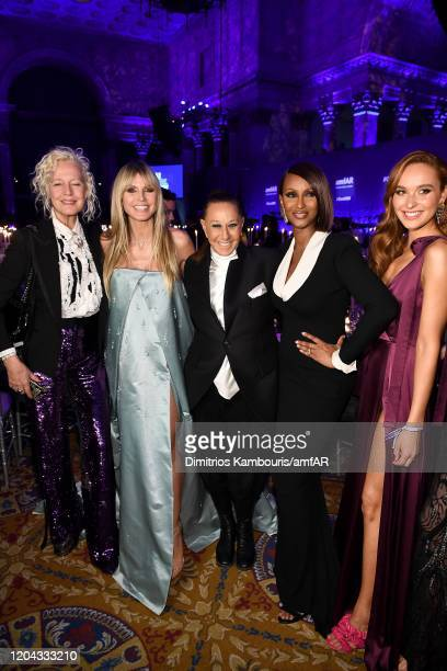 Ellen Von Unwerth Heidi Klum Donna Karan and Iman attend the 2020 amfAR New York Gala at Cipriani Wall Street on February 05 2020 in New York City