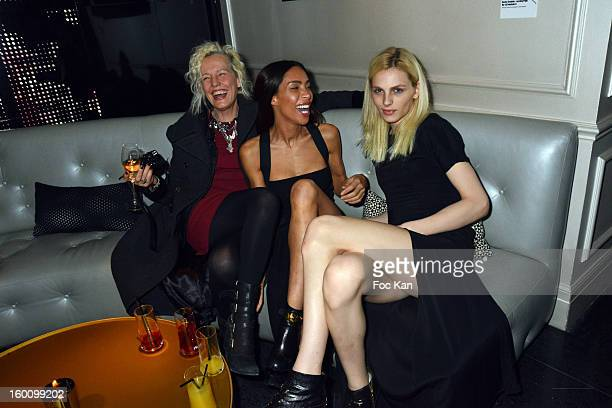 Ellen Von Unwerth Ines Rau and Andreas Pejic attend the 'Body Double' Ali Mahdavi Exhibition Preview Cocktail At Hotel W on January 25 2013 in Paris...