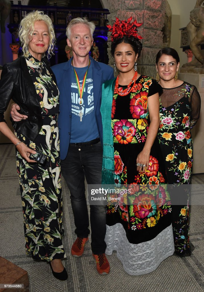 Ellen von Unwerth, Philip Treacy; Salma Hayek and guest attend a private view of 'Frida Kahlo: Making Her Self Up' at The V&A on June 13, 2018 in London, England.