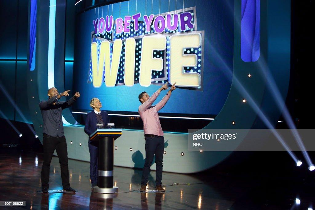 S GAME OF GAMES -- 'Ellen, We Have A Problem' Episode 102 -- Pictured: (l-r) Shane Yambor, Ellen DeGeneres, Lee Darling --