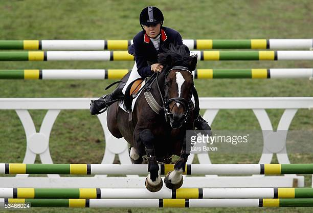 Ellen Whitaker of Great Britain riding AK Locarno jumps during the CHIO Aachen 2005 Nation's Cup on August 26 2005 in Aachen Germany
