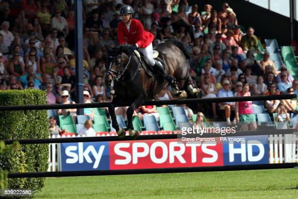 Ellen Whitaker riding Locarno 62 in the DFS Derby in the DFS Derby during the Hickstead Horse Show at the All England Jumping Course, Hickstead.