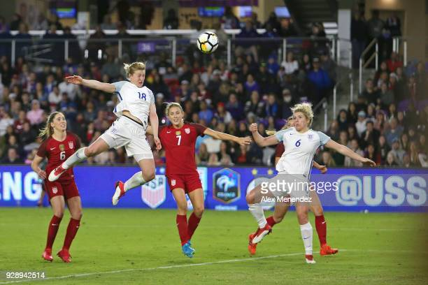 Ellen White and Millie Bright of England attack the goal in front of Morgan Brian and Abby Dahlkemper of United States during the SheBelieves Cup...