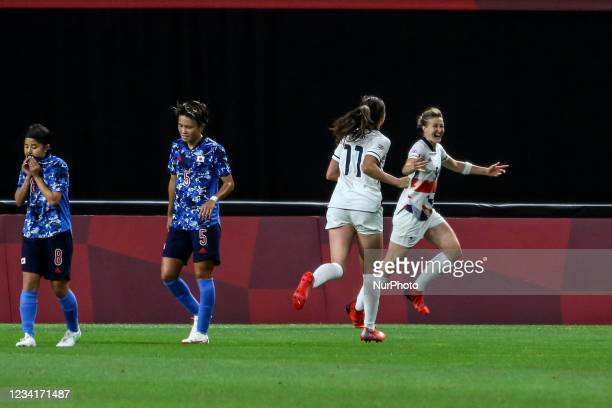 Ellen White , Caroline WEIR of Team Great Britain celebrates after scoring their side's first goal during the Women's First Round Group E match...