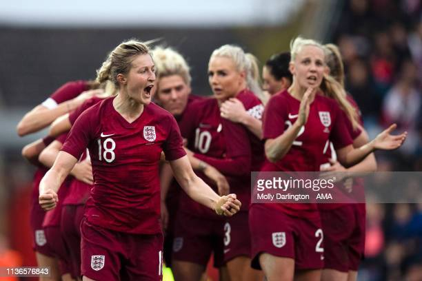 Ellen White celebrates with team mates after Bethany Mead of England scores a goal to make it 10during the International Friendly between England...