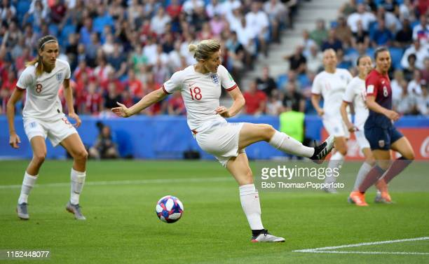 Ellen White misses her shot before Jill Scott scores England's the first goal during the 2019 FIFA Women's World Cup France Quarter Final match...