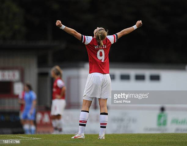 Ellen White of Arsenal celebrates winning the League and the final wistle after the FA Women's Super League match between Arsenal Ladies FC and...
